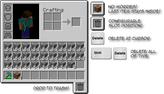 Trash Slot Mod for Minecraft 1