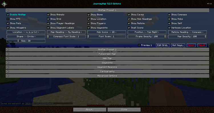 1492778361_22_journey-map-mod-1-11-21-10-2-for-minecraft-new-configuration-options Journey Map Mod 1.11.2/1.10.2 for Minecraft – New configuration options